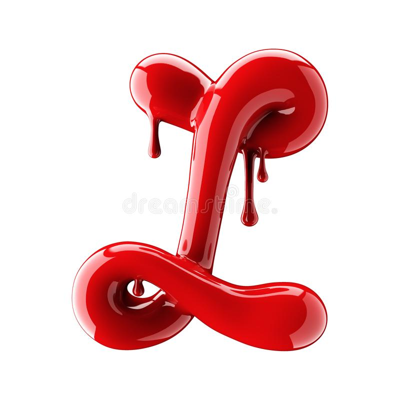 3D render of red alphabet make from nail polish. Handwritten cursive letter L. Isolated on white. Background stock illustration