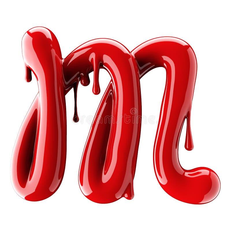 3D render of red alphabet make from nail polish. Handwritten cursive letter M. Isolated on white. Background stock illustration