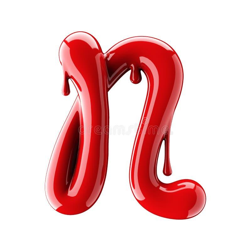 3D render of red alphabet make from nail polish. Handwritten cursive letter N. Isolated on white. Background stock illustration