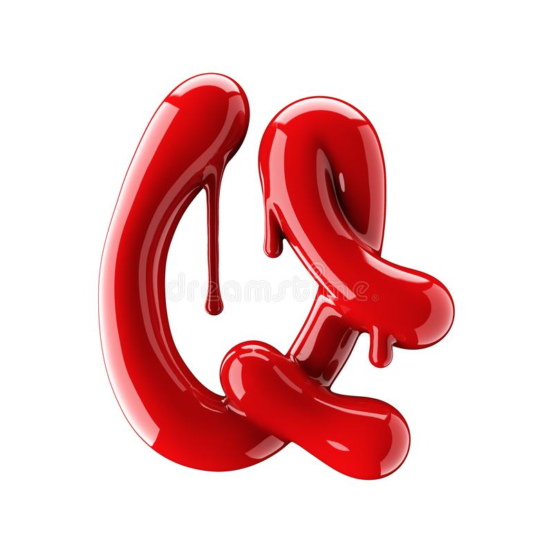 3D render of red alphabet make from nail polish. Handwritten cursive letter Q. Isolated on white. Background stock illustration