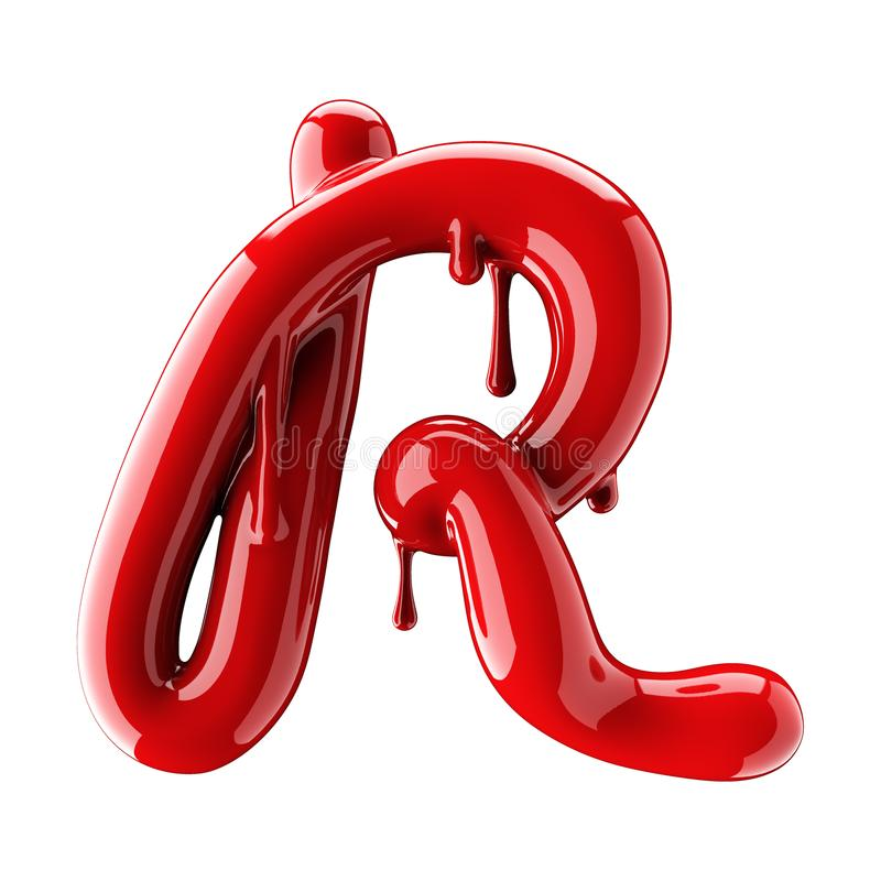3D render of red alphabet make from nail polish. Handwritten cursive letter R. Isolated on white. Background stock illustration