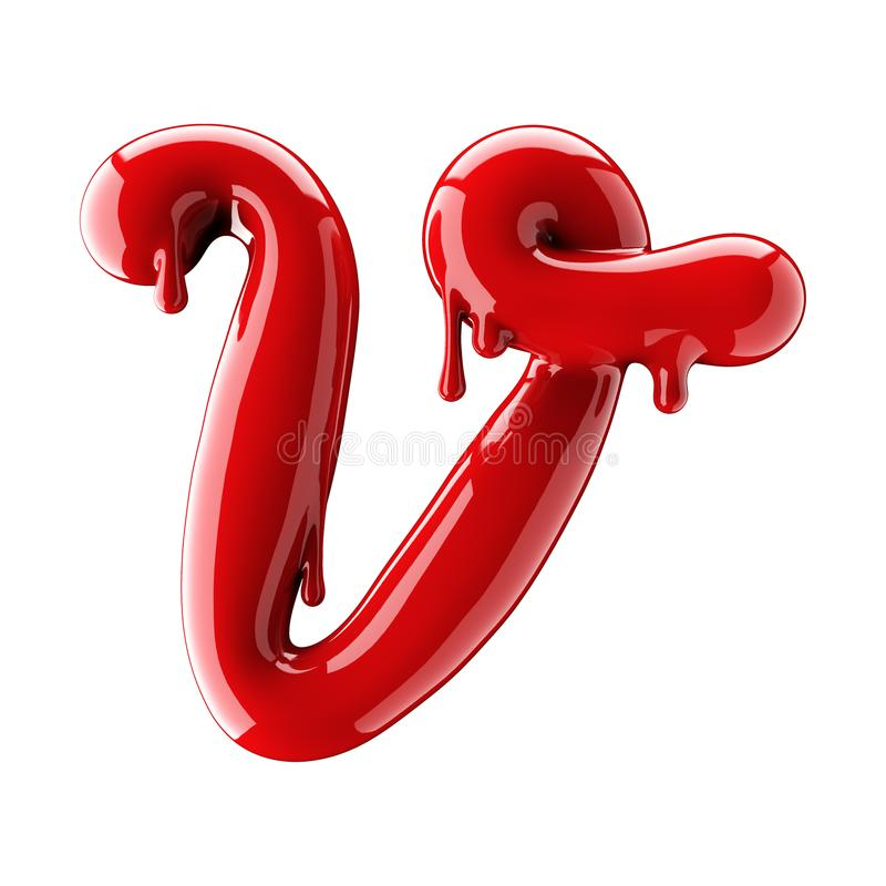 3D render of red alphabet make from nail polish. Handwritten cursive letter V. Isolated on white. Background stock illustration