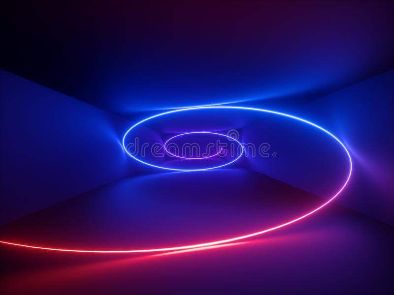 3d render, red blue neon helix, spiral, abstract fluorescent background, laser show, night club interior lights, glowing curvy royalty free illustration