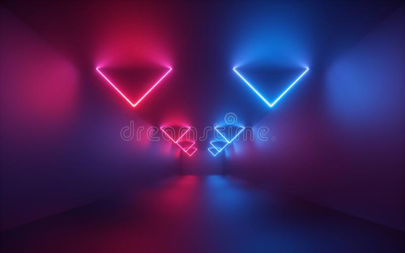 3d render, red blue neon light, illuminated corridor, tunnel, empty room, virtual space, ultraviolet light, 80`s retro style. Fashion show stage, abstract royalty free stock photo