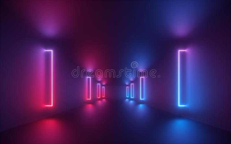 3d render, red blue neon light, illuminated corridor, tunnel, empty space, ultraviolet light, 80`s retro style, fashion show stag stock photography