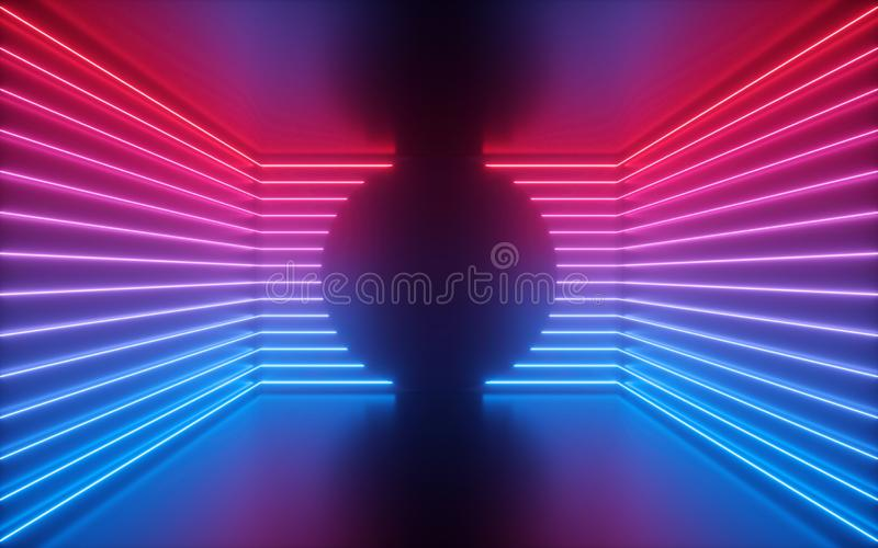 3d render, red blue neon lines, round shape inside empty room, virtual space, ultraviolet light, 80`s style, retro disco club stock images