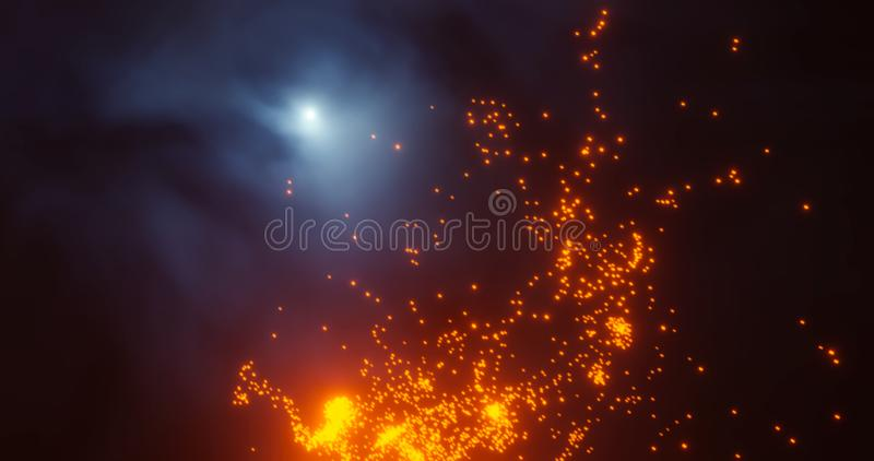 3d render. Red Christmas stars and New Year sparkling whirlwinds of star dust on a black background bokeh.prazdnichnaya garland or vector illustration