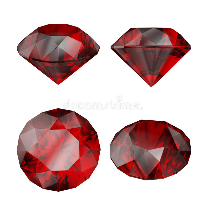 3d red ruby gem, jewel icon, diamond cut, brilliant, precious, perspective view, clip art set, isolated on white background stock illustration