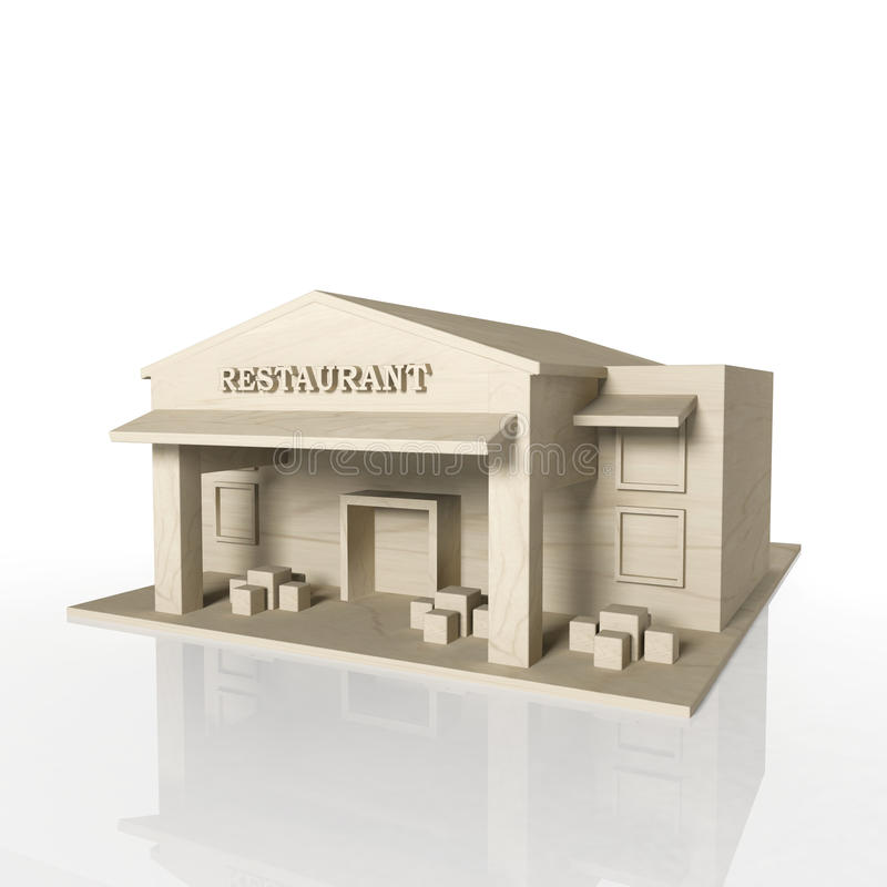 3D Render Of Restaurant Building With Reflection Stock Photos