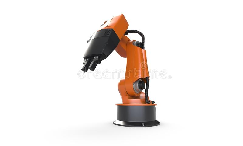 3D render of robot arm isolated on white. 3D render of small robot arm isolated on white background royalty free illustration