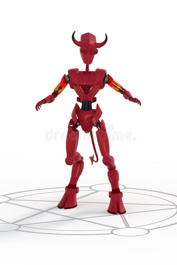 3D Render of Robot Demon. 3D render of a red robot demon standing in summoning circle against a white backdrop vector illustration
