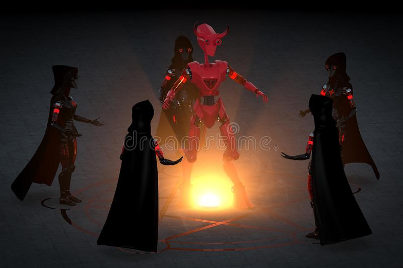 3D Render of Robot Witches Summoning a Robot Demon stock images