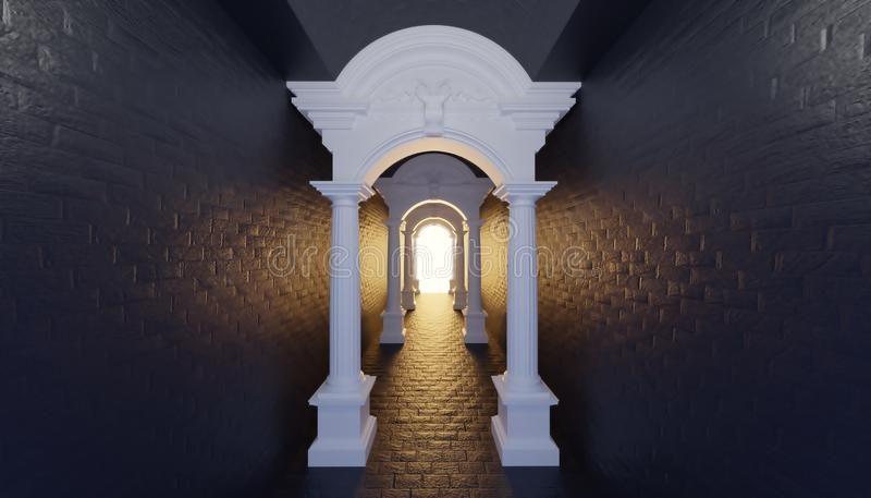 3d render roman ancient tunnel corridor to light hope. Black wall royalty free illustration