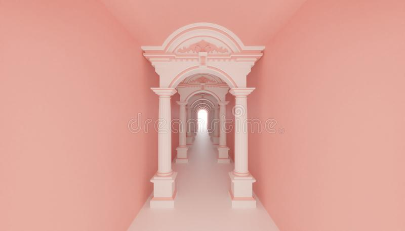 3d render roman ancient tunnel corridor to light hope. Pink wall exit vector illustration
