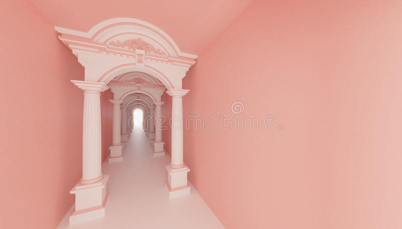 3d render roman ancient tunnel corridor to light hope. Pink wall royalty free illustration