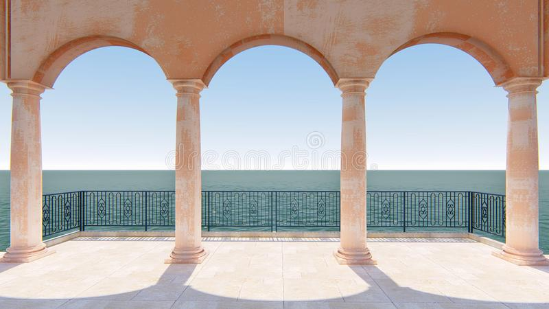 3d render roman balcony classic sea view italy. With pink stone and steel row romantic vector illustration