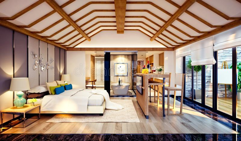 3d render of roof bedroom vector illustration