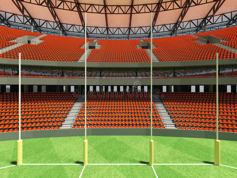 3D render of a round Australian rules football stadium with orange chairs. 3D render of a round Australian rules football stadium with orange seats and VIP boxes vector illustration
