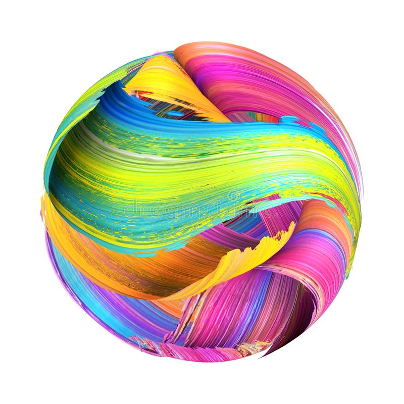 3d render, round shape made of abstract brush strokes, paint splash, splatter, colorful curl, artistic spiral, vivid ribbon. 3d render of round shape made of royalty free illustration