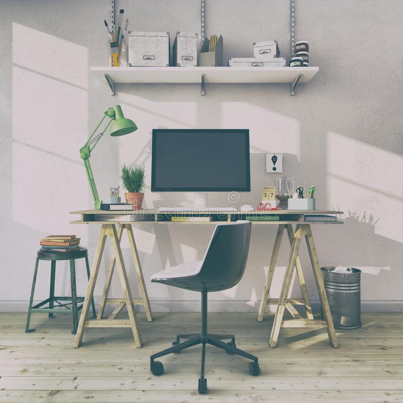 3d render - scandinavian nordic home office - retro look royalty free illustration