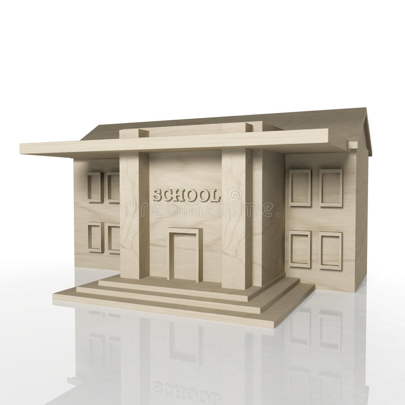 3D Render Of School Building With Reflection Stock Photo
