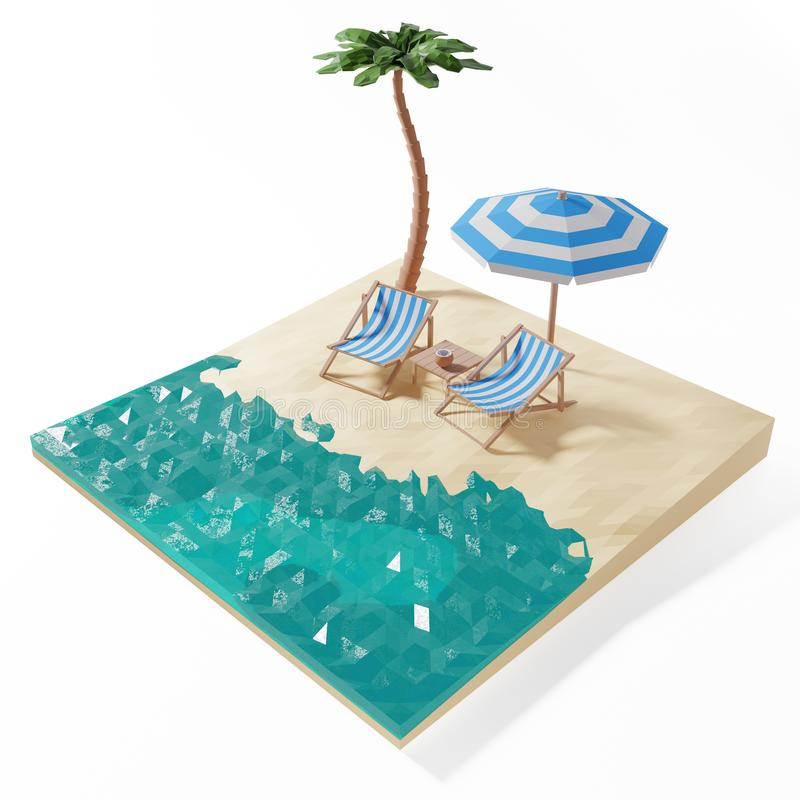 3D Render of sea beach with chairs and umbrella stock photo