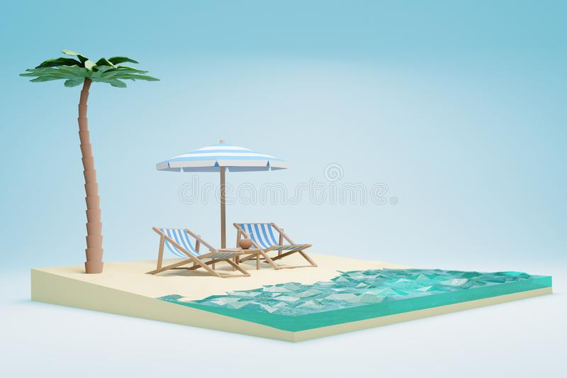 3D Render of sea beach with chairs and umbrella royalty free stock photo