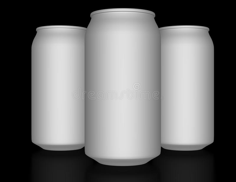 3d Render of a set of Aluminum Cans stock illustration