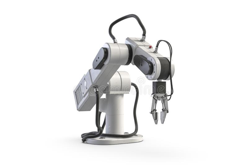 3D render of robot arm isolated on white. 3D render of small robot arm isolated on white background vector illustration