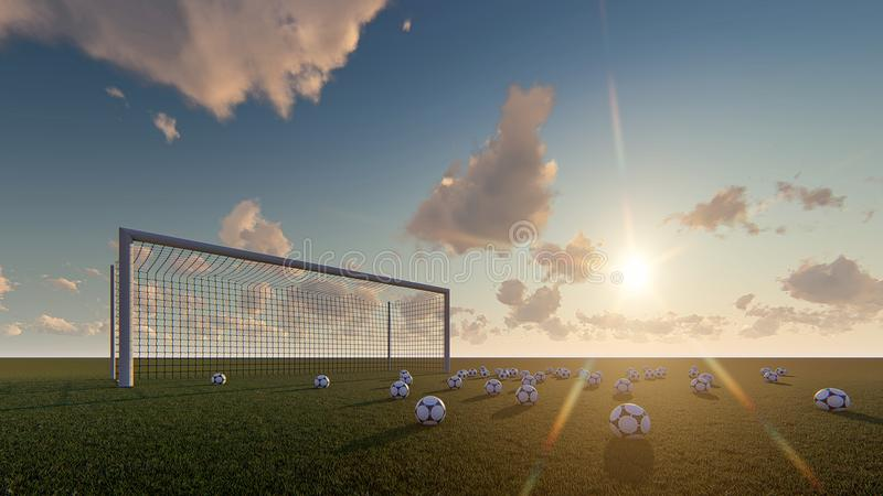 Soccer balls gate soccer sunrise. 3d render Soccer ball sunrise and gate soccer vector illustration