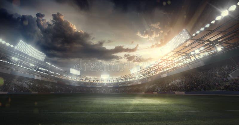 Sport Backgrounds. Soccer stadium. 3d render. 3d render of the soccer stadium with dramatick sky vector illustration