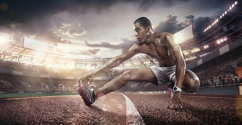 Sport Backgrounds. Soccer stadium and running track. 3d render royalty free stock image
