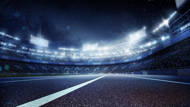 Sport Backgrounds. Soccer stadium and running track. 3d render royalty free illustration