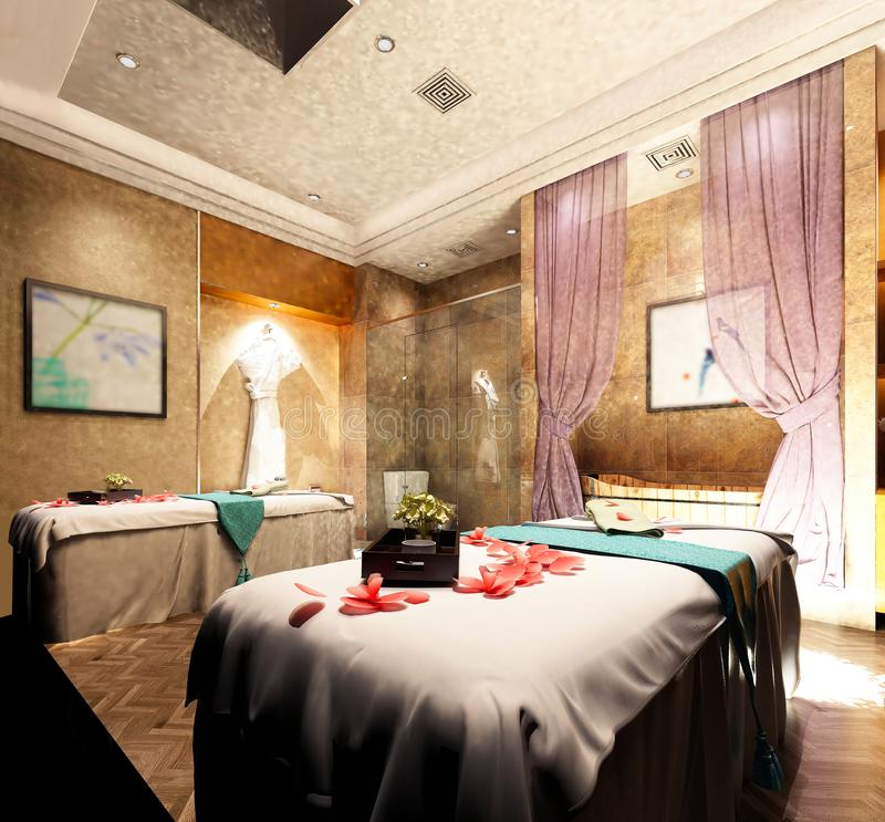3d render of spa massage room vector illustration