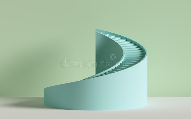 3d render, spiral stairs, steps, cylinder, abstract background in pastel colors, minimal scene vector illustration