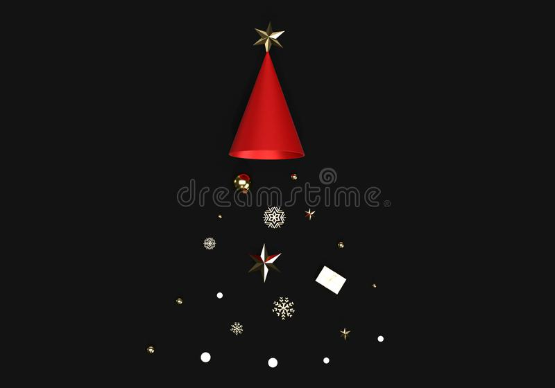 3d render of star and snow flake dropping from hat, merry Christmas and happy new year celebration . 3d render of star and snow flake dropping from hat, merry vector illustration