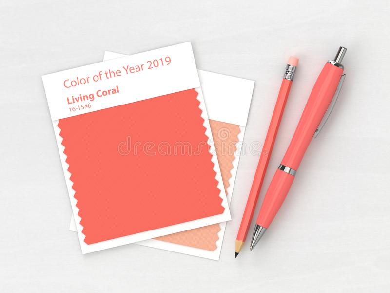 3d render of stationery with textile color swatch. Lying on wooden desk. Living coral. Color of the year 2019 vector illustration