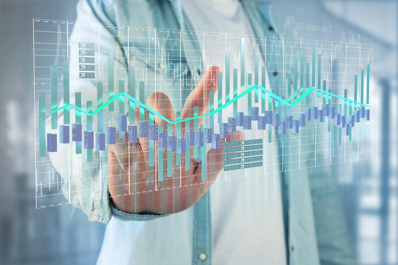3d render Stock exchange trading data information display on a. View of a 3d render Stock exchange trading data information display on a futuristic interface stock photos