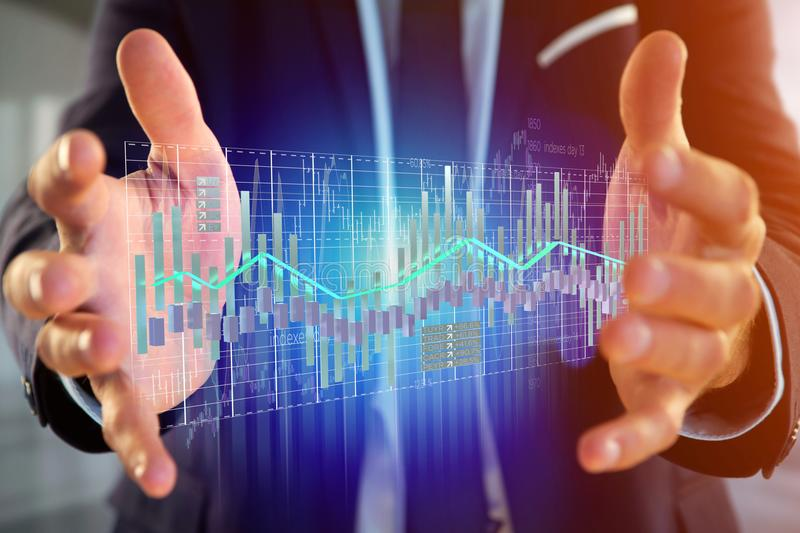 3d render Stock exchange trading data information display on a stock photography