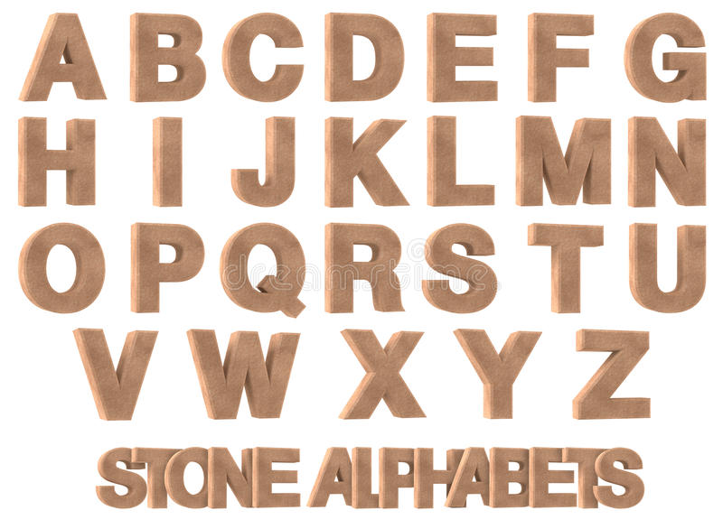 3D Render of Stone Alphabets. 3D render of stone, rock, marble alphabets on white background stock illustration