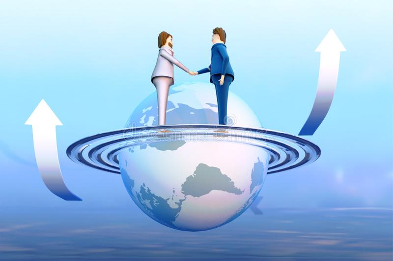 3D Render style of business person shaking hands with globe. royalty free illustration