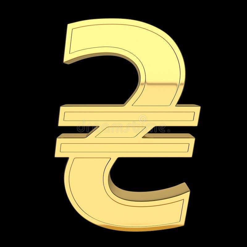 3D render of currency symbol, metallic, gold color stock illustration