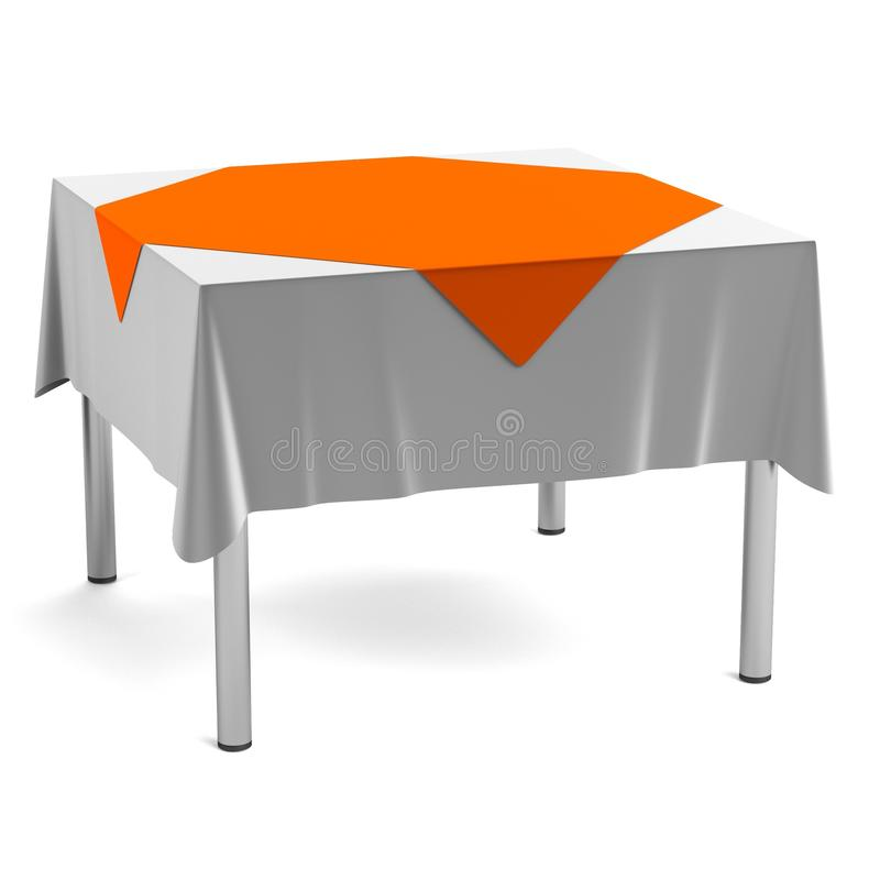 Download 3d Render Of Table With Tablecloth Stock Illustration - Image: 40116311