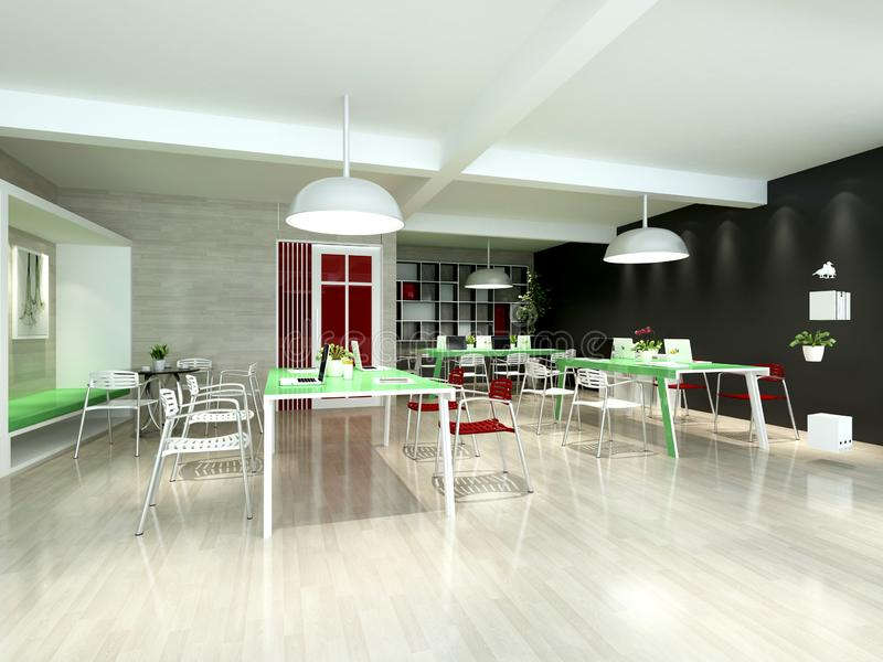 3d render of team working space. In green color stock illustration