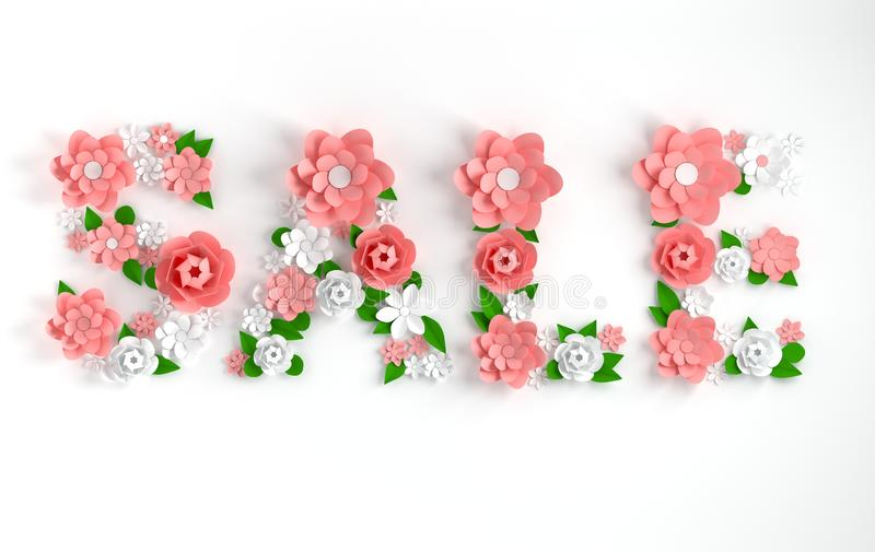 3d render text Sale made of paper flowers and leaves on white background. Modern paper art style for promotional marketing event, vector illustration