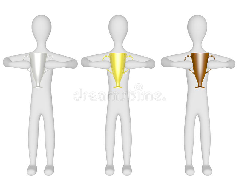 3d Render of Three Males Holding Trophies royalty free illustration