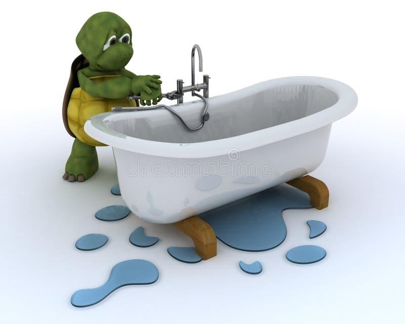 Tortoise plumbing contractor vector illustration
