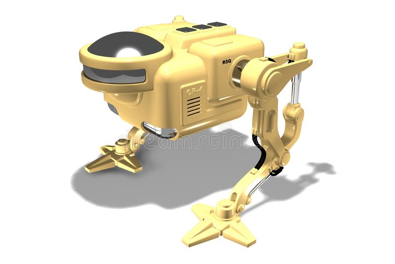 Robot. Biped robot. Robotics. Technologies of the future. 3D rendering of a yellow robot on a white background vector illustration