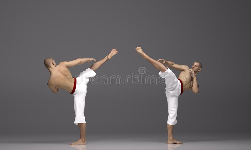 3D render : two men perform high kick action with Martial Arts Styles royalty free illustration