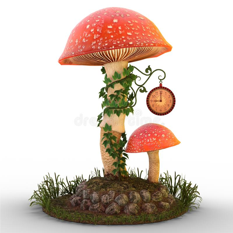 Mushrooms with clock on ground. 3D render of two mushrooms, ivy and fairy clock on patch of ground and grass illustration vector illustration